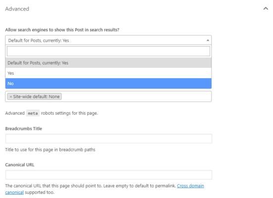 Utilizza SEO metabox con i motori di ricerca consentiti No o noindex selezionati