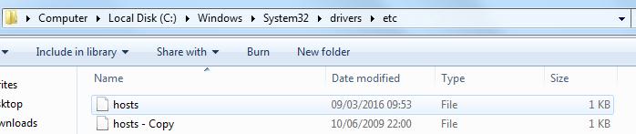 Selezione del file hosts