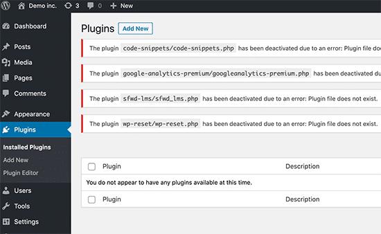 Plugin di WordPress disattivati