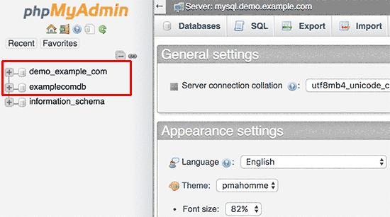 Seleziona il tuo database WordPress