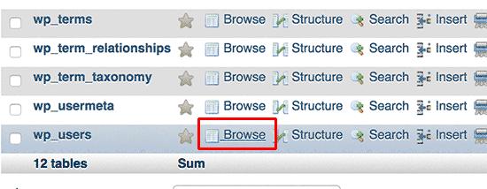 Sfoglia la tabella degli utenti in phpMyAdmin