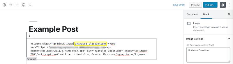 aggiungendo la classe animata e la classe per la tua animazione al tag dell'elemento in un post di esempio