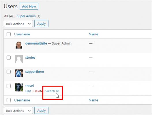 Plugin di WordPress per il cambio utente.
