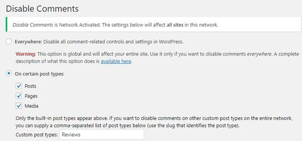 Disabilita il plugin Commenti WordPress