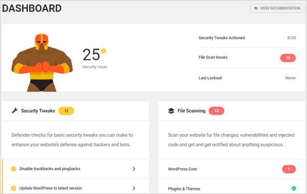 Dashboard del plugin di sicurezza per WordPress Defender.