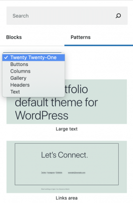 Il menu a discesa della categoria del modello di blocco