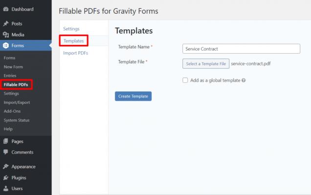 Aggiungi modello PDF