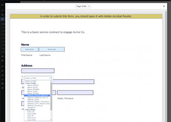 Mappare i campi in PDF